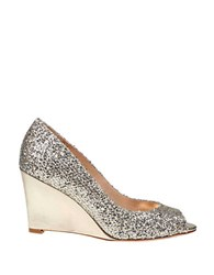 Badgley Mischka Awake Glitter Leather Wedge Pumps Gold