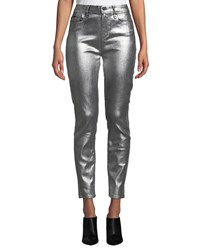 Paige Verdugo Ultra Skinny Metallic Ankle Jeans Silver