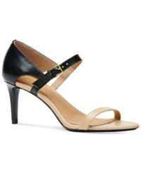 Calvin Klein Women's Luigiana Two Tone Strappy Dress Sandals Women's Shoes Black Sandstorm