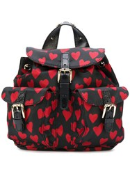 Red Valentino Hearts Print Backpack Women Polyester One Size Black