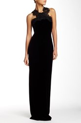Marchesa Lace And Velvet Full Length Gown Black