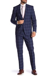 Vince Camuto Wool Plaid Print Slim Fit 2 Piece Suit Medium Blue Plaid