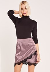 Missguided Purple Asymmetric Satin Lace Trim Mini Skirt