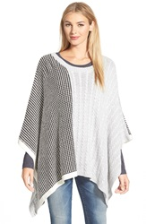 Vince Camuto Cable And Waffle Stitch Knit Poncho Grey Heather