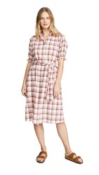The Great Great. Scallop Kerchief Dress Brick Red Plaid