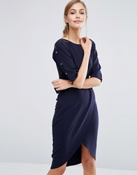 Closet London Pencil Dress With Wrap Front Navy