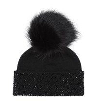 William Sharp Swarovski Crystal Pom Pom Hat Female Black