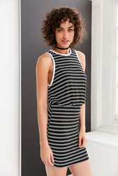 Bdg Striped Blouson Mini Dress Black And White