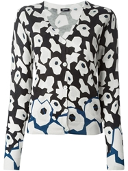 Jil Sander Navy Abstract Floral Print Cardigan Blue