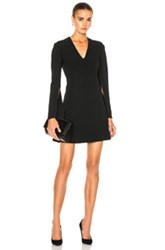 Calvin Klein Collection Kenner Piped V Neck Long Sleeve Dress In Black