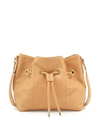 Lauren Merkin Peyton Leather Drawstring Bucket Bag Champagne