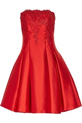 Mikael Aghal Strapless Pleated Lace And Duchesse Satin Twill Mini Dress Red