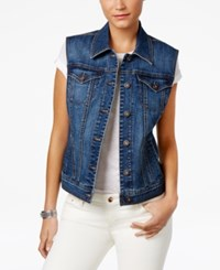 Style And Co Button Front Denim Vest Only At Macy's Mosaic
