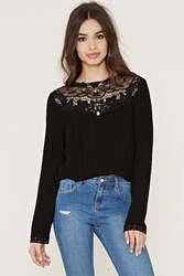 Forever 21 Lacy High Neck Blouse Black