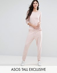Asos Tall Lounge Jumpsuit With Long Sleeve And Tie Waist Pink Grey