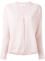 Allude V Neck Buttoned Cardigan Pink Purple