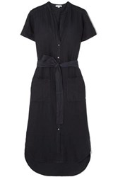 James Perse Belted Linen Midi Dress Navy