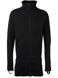 Thom Krom Layered Hem Zip Sweatshirt Black