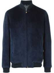 Etro Fur Bomber Jacket Blue