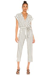 1.State Button Front Regancy Stripe Jumpsuit Green