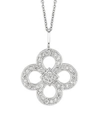 Morris And David 14K White Gold Diamond Clover Pendant 0.37 Tcw
