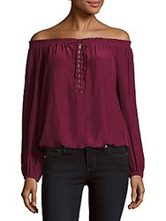 Ramy Brook Jill Shirred Off The Shoulder Top Sangria