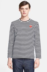 Men's Comme Des Garcons 'Play' Long Sleeve Stripe Crewneck T Shirt Black White