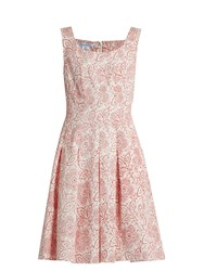 Oscar De La Renta Pleated Floral Print Cloque Dress White Print
