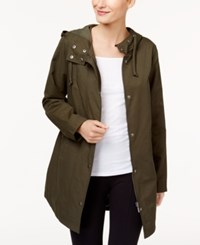 Style And Co Petite Rainy Day Hooded Utility Jacket Created For Macy's Evening Olive