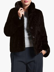 Four Seasons Astrakhan Faux Fur Collar Jacket Black