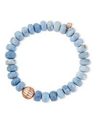 10Mm Faceted African Opal Bead Bracelet With 14K Ball Spacer Blue Sydney Evan