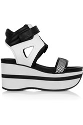 Dkny Josie Leather And Rubber Wedge Sandals White