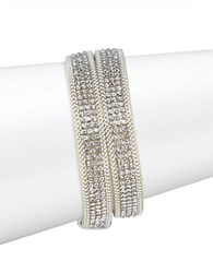 Design Lab Lord And Taylor Faux Suede Crystal Pave Bracelet Silver