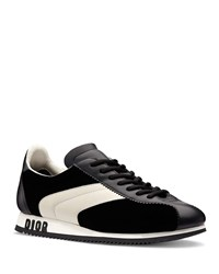 a81f91a7 Diorun Velvet And Calfskin Leather Sneakers Black White