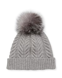 Sofia Cashmere Staghorn Cable Knit Hat W Fur Pompom Gray
