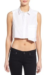 Kendall And Kylie 'Grid Lace' Sheer Back Crop Top White