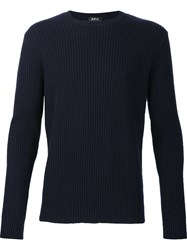 A.P.C. Ribbed Knit Sweater Blue
