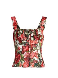 Dolce And Gabbana Rose Print Cotton Poplin Bustier Top Pink Print