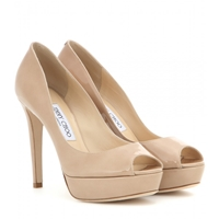 Jimmy Choo Dahlia Patent Leather Peep Toe Pumps Nude