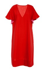 Araks Poppy Orchid Marion V Neck Cover Up Dress Red