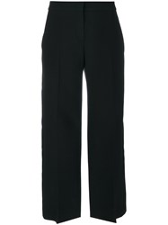 Alexander Mcqueen Cropped Wide Leg Trousers Women Silk Polyamide Cupro Wool 38 Black