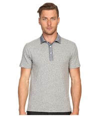 Todd Snyder Chambray Trim Polo Antique Grey Mix Men's Clothing Gray
