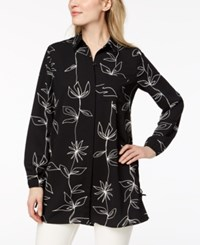 Alfani Printed Side Tie Tunic Created For Macy's Black Perfect Bloom