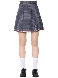Thom Browne Pleated Striped Cool Wool Mini Skirt