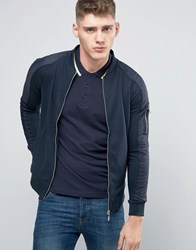 Brave Soul Baseball Zip Through Nylon Sleeve Jacket Navy