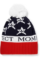 Perfect Moment Star Pompom Embellished Intarsia Wool Blend Beanie Navy