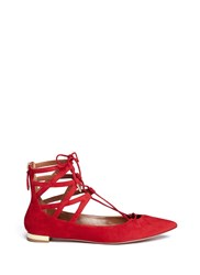 Aquazzura 'Belgravia' Caged Suede Flats Red