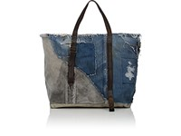 Barneys New York Large Denim And Canvas Tote Bag Blue