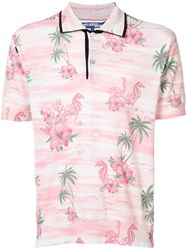 Comme Des Garcons Junya Watanabe Tropical Print Polo Shirt Men Cotton Wool S Pink Purple