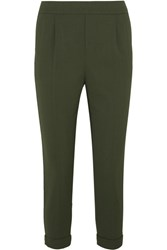Vince Cropped Washed Stretch Crepe Tapered Pants Army Green
